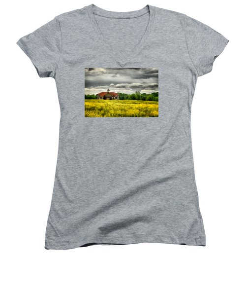 Women's V-Neck T-Shirt (Junior Cut) featuring the painting Shiloh School by Lynne Jenkins