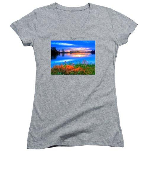 Women's V-Neck T-Shirt (Junior Cut) featuring the photograph Shoreline Sundown by Randall Branham