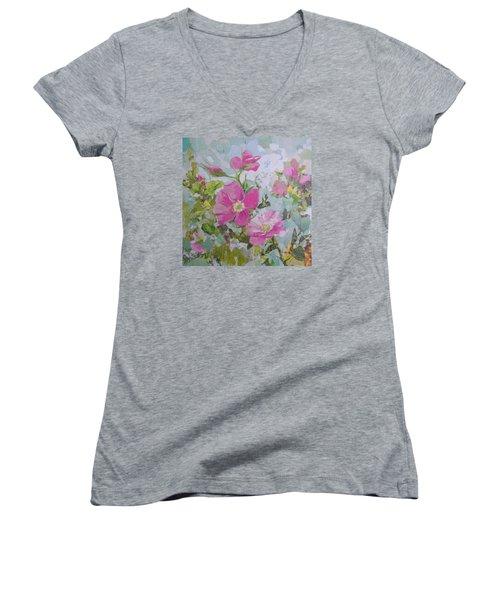 Shrub Roses Women's V-Neck T-Shirt (Junior Cut) by Robin Birrell