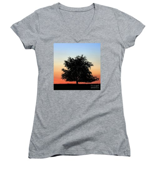 Make People Happy  Square Photograph Of Tree Silhouette Against A Colorful Summer Sky Women's V-Neck