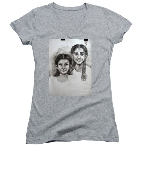 Women's V-Neck featuring the drawing Sisters by Asha Sudhaker Shenoy