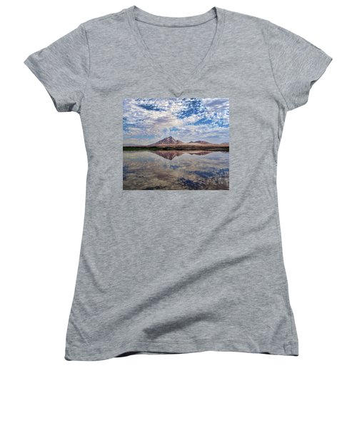 Women's V-Neck T-Shirt (Junior Cut) featuring the photograph Skies Illusion by Tammy Espino