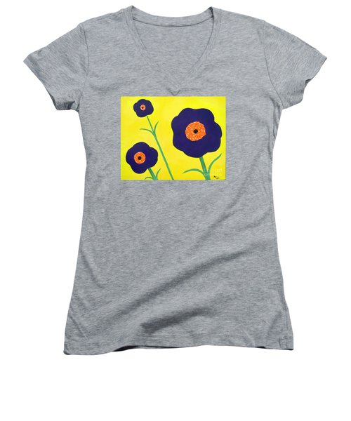 Women's V-Neck T-Shirt (Junior Cut) featuring the painting Sky High Flowers by Alys Caviness-Gober