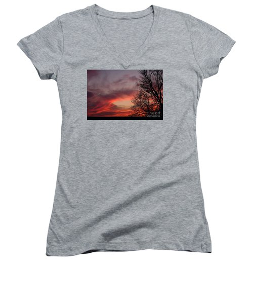 Sky On Fire Women's V-Neck