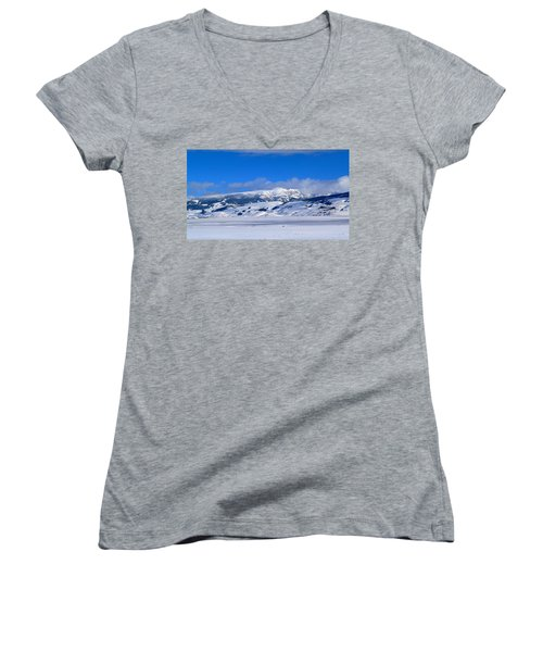 Women's V-Neck T-Shirt (Junior Cut) featuring the photograph Sleeping Indian by Eric Tressler