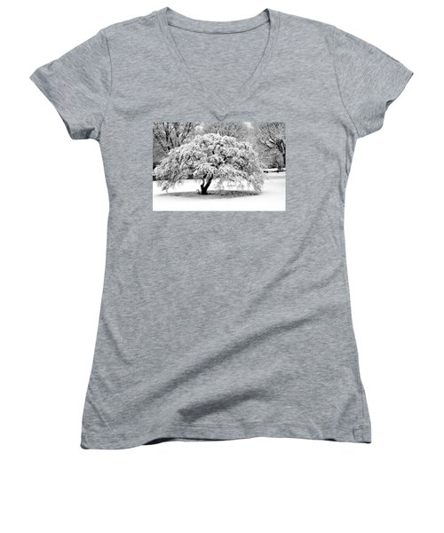 Snow In Connecticut Women's V-Neck T-Shirt (Junior Cut) by John Scates