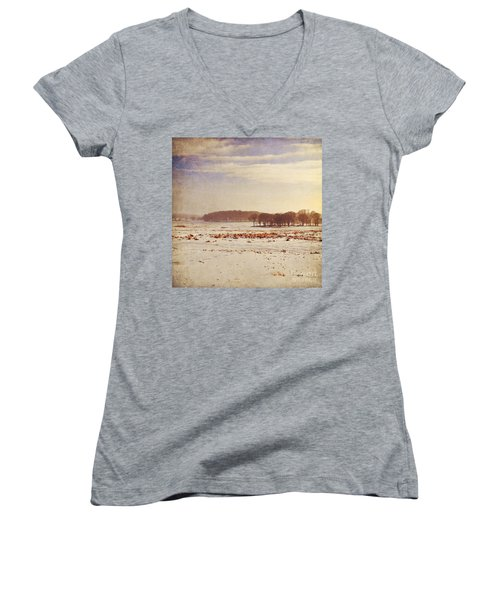 Snowy Landscape Women's V-Neck T-Shirt (Junior Cut) by Lyn Randle