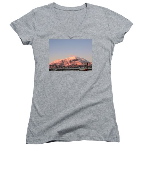 Snowy Mountain At Sunset Women's V-Neck (Athletic Fit)