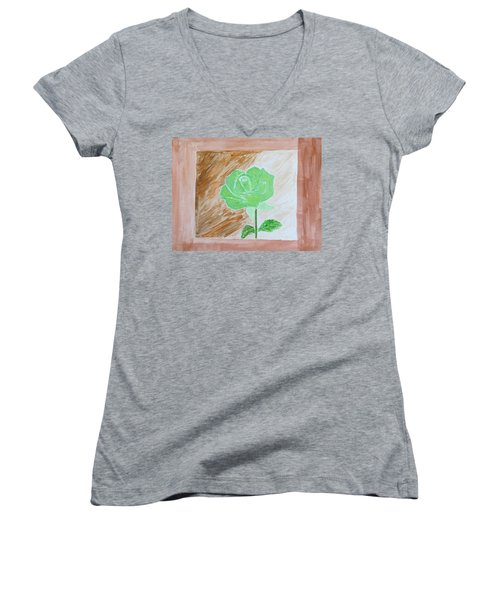 Women's V-Neck T-Shirt (Junior Cut) featuring the painting Solitary Rose by Sonali Gangane