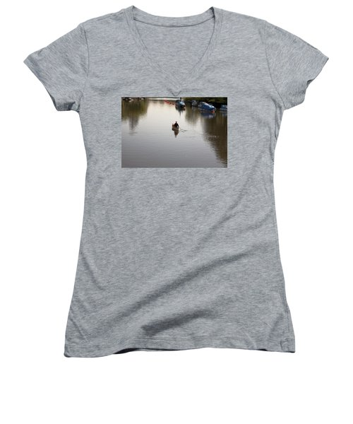 Women's V-Neck T-Shirt (Junior Cut) featuring the photograph Solo Rowing by Maj Seda