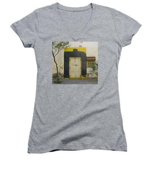 Women's V-Neck T-Shirt (Junior Cut) featuring the photograph Somebody's Door by David Pantuso