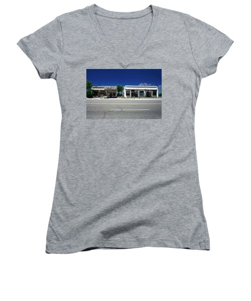 Women's V-Neck T-Shirt (Junior Cut) featuring the photograph Somewhere On Hwy 285 Number Two by Lon Casler Bixby