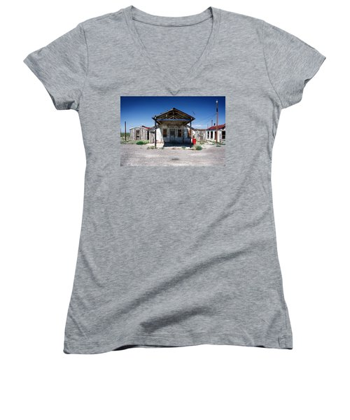 Women's V-Neck T-Shirt (Junior Cut) featuring the photograph Somewhere On The Old Pecos Highway Number 4 by Lon Casler Bixby
