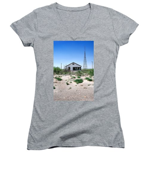 Women's V-Neck T-Shirt (Junior Cut) featuring the photograph Somewhere On The Old Pecos Highway Number 5 by Lon Casler Bixby