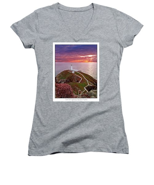 Women's V-Neck T-Shirt (Junior Cut) featuring the photograph South Stack Lighthouse by Beverly Cash