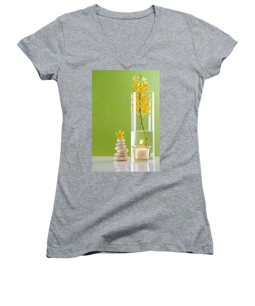 Spa Concepts With Green Background Women's V-Neck T-Shirt (Junior Cut) by Atiketta Sangasaeng