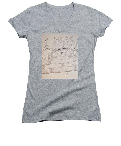 Spaniel Pup Women's V-Neck T-Shirt (Junior Cut) by Maria Urso
