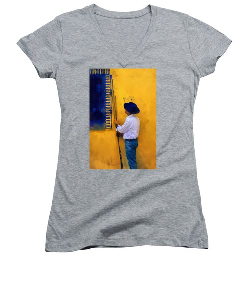 Spanish Man At The Yellow Wall. Impressionism Women's V-Neck