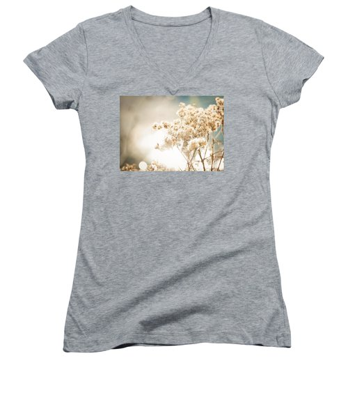 Women's V-Neck T-Shirt (Junior Cut) featuring the photograph Sparkly Weeds by Cheryl Baxter