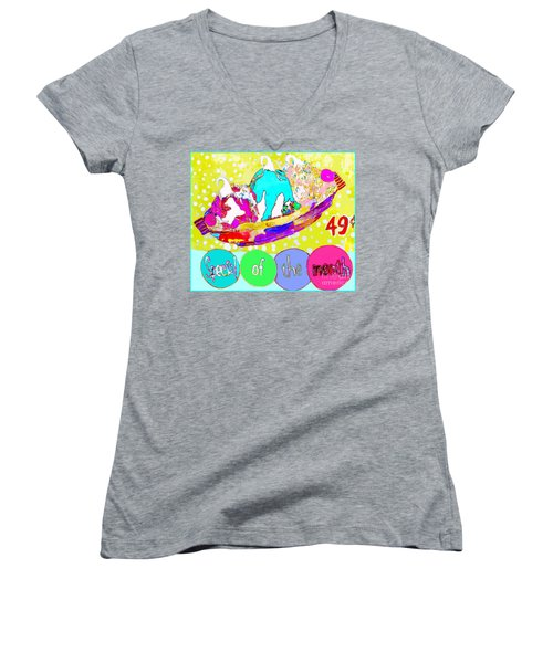 Women's V-Neck T-Shirt (Junior Cut) featuring the mixed media Special Of The Month by Beth Saffer