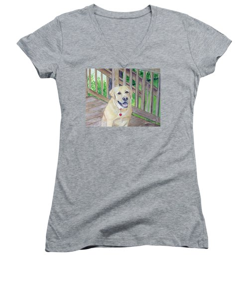 Women's V-Neck T-Shirt (Junior Cut) featuring the painting Spencer On Porch by Carol Flagg
