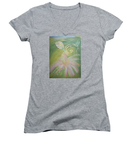 Spring Fairy Entrance Women's V-Neck T-Shirt (Junior Cut) by Judith Desrosiers