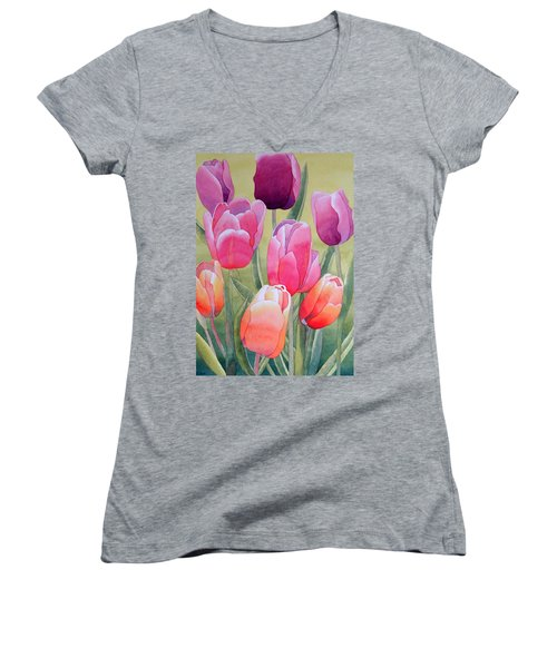 Women's V-Neck T-Shirt (Junior Cut) featuring the painting Spring by Laurel Best