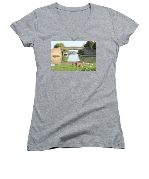 Spring On The Oxford Canal Women's V-Neck (Athletic Fit)