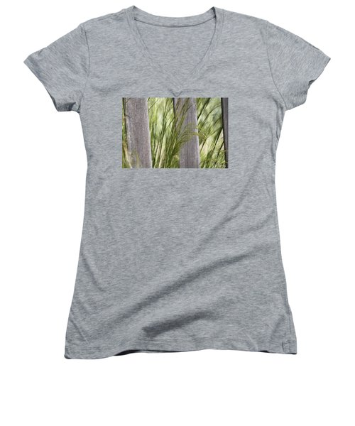 Spring Time In The Meadow Women's V-Neck T-Shirt (Junior Cut) by Amy Gallagher