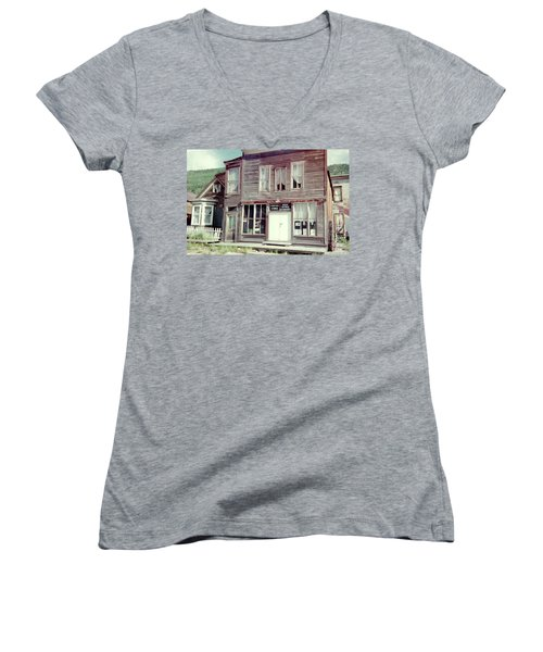 Women's V-Neck T-Shirt (Junior Cut) featuring the photograph Stark Bros Store by Bonfire Photography