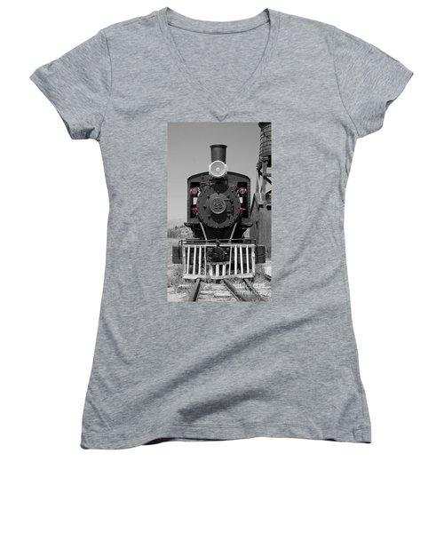 Women's V-Neck T-Shirt (Junior Cut) featuring the photograph Steam Engine Train by Deniece Platt
