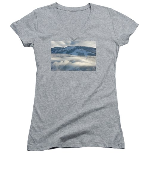 Women's V-Neck T-Shirt (Junior Cut) featuring the photograph Steamboat Ski Area In Clouds by Don Schwartz