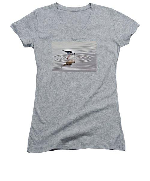 Women's V-Neck T-Shirt (Junior Cut) featuring the photograph Black-necked Stilt by Tam Ryan
