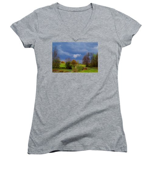 Women's V-Neck T-Shirt (Junior Cut) featuring the photograph Storm Cell by Kathryn Meyer