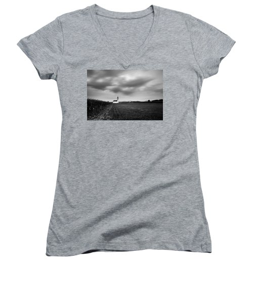 Storm Clouds Gather Over Church Women's V-Neck