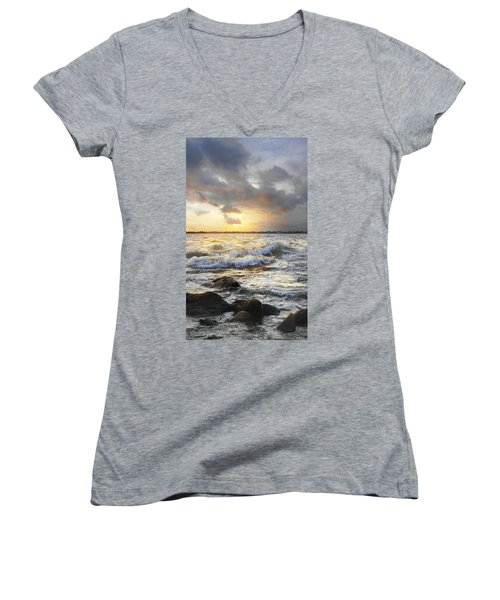 Storm Waves Women's V-Neck (Athletic Fit)