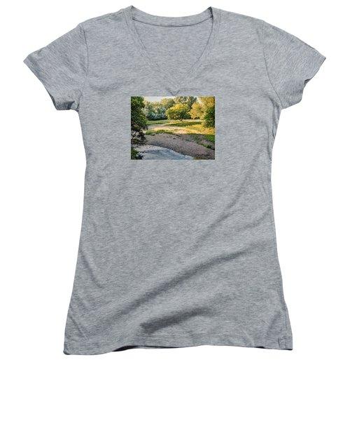 Summer Evening Along The Creek Women's V-Neck T-Shirt (Junior Cut) by Bruce Morrison