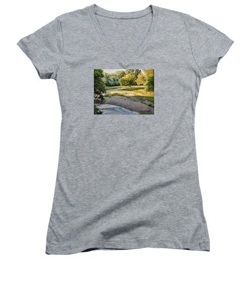 Summer Evening Along The Creek Women's V-Neck (Athletic Fit)