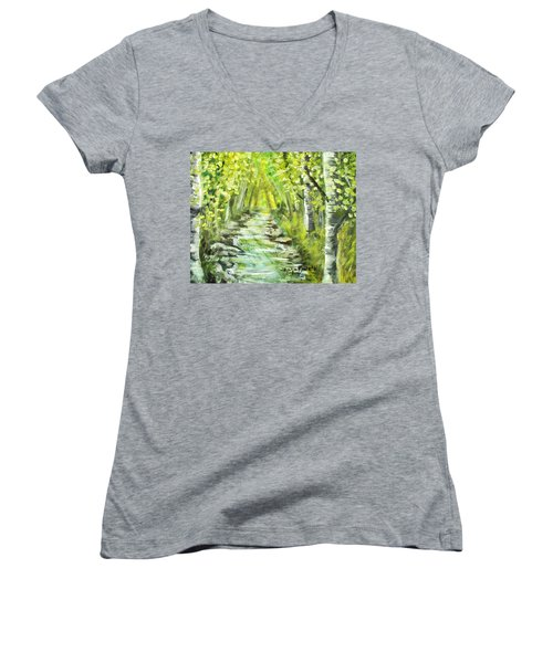 Women's V-Neck T-Shirt (Junior Cut) featuring the painting Summer by Shana Rowe Jackson