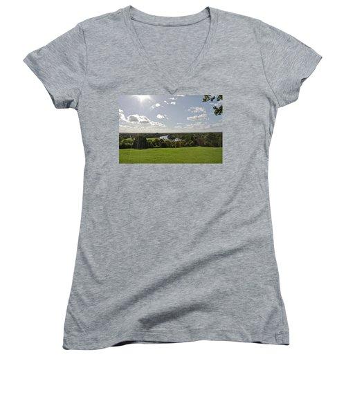 Women's V-Neck T-Shirt (Junior Cut) featuring the photograph Sun Glare by Maj Seda