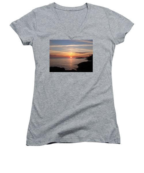 Women's V-Neck T-Shirt (Junior Cut) featuring the photograph Sun Up On The Up by Bonfire Photography