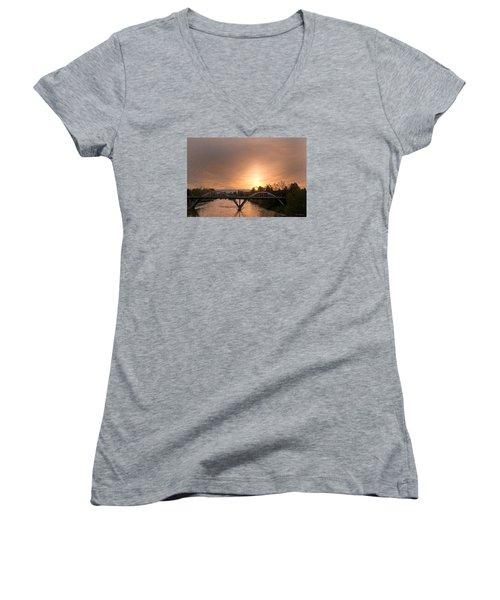 Sunburst Sunset Over Caveman Bridge Women's V-Neck T-Shirt (Junior Cut) by Mick Anderson