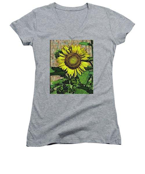 Sunflower Face Women's V-Neck T-Shirt (Junior Cut) by Alec Drake
