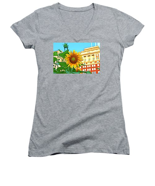 Women's V-Neck T-Shirt (Junior Cut) featuring the photograph Sunflower In The City by Alice Gipson