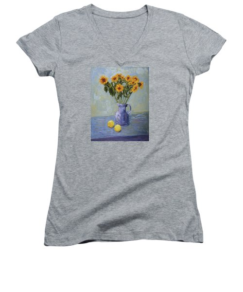 Sunflowers And Lemons Women's V-Neck (Athletic Fit)