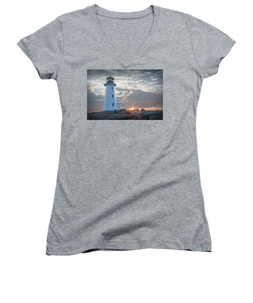 Sunrise At Peggys Cove Lighthouse In Nova Scotia Number 041 Women's V-Neck (Athletic Fit)