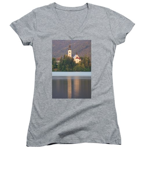 Sunrise Over Lake Bled And The Island Church Women's V-Neck