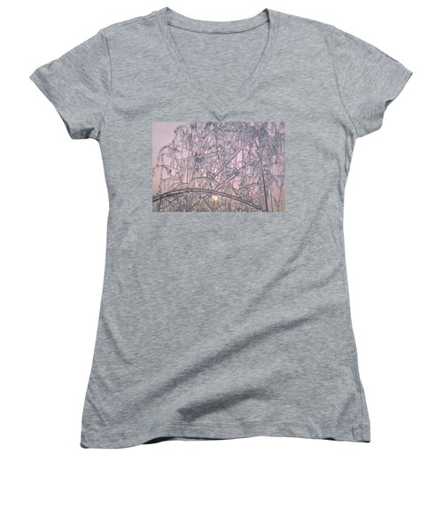 Women's V-Neck T-Shirt (Junior Cut) featuring the photograph Sunrise Through Ice Covered Shrub by Tom Wurl