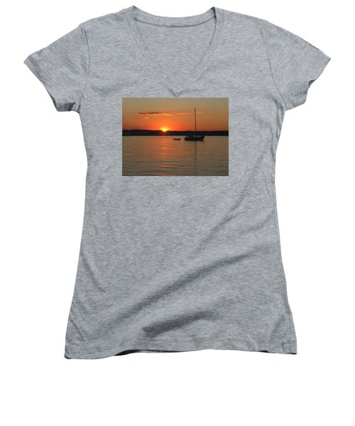 Women's V-Neck T-Shirt (Junior Cut) featuring the photograph Sunset Cove by Clara Sue Beym