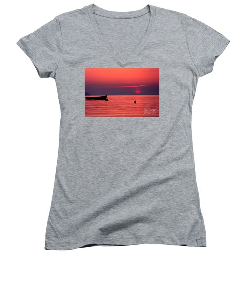 Women's V-Neck T-Shirt (Junior Cut) featuring the photograph Sunset In Elba Island by Luciano Mortula